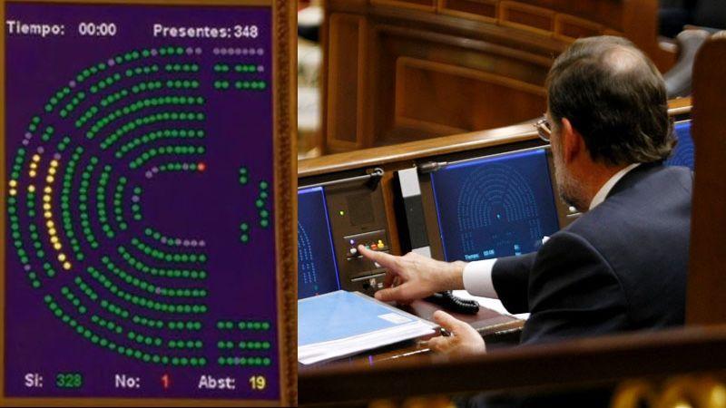 Rajoy se equivoca y vota contra el PP