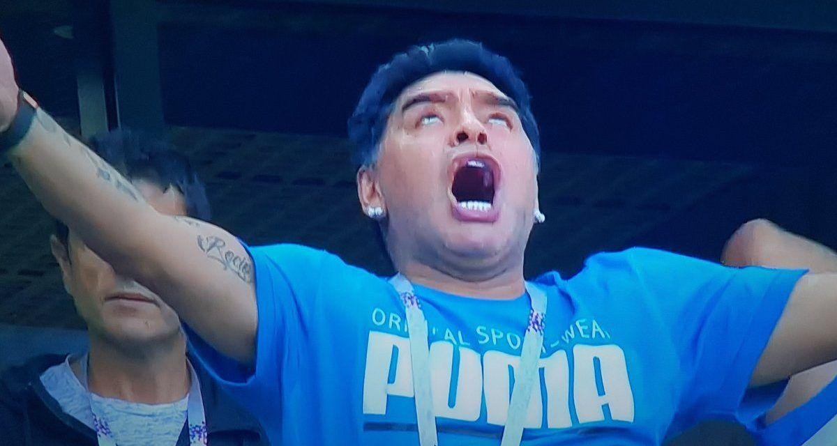 Los memes de Maradona en trance en el palco viendo Argentina – Nigeria